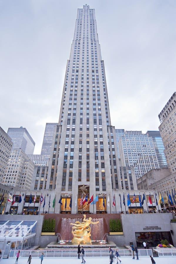 Pista New York City do patim de gelo do centro de Rockefeller fotografia de stock royalty free