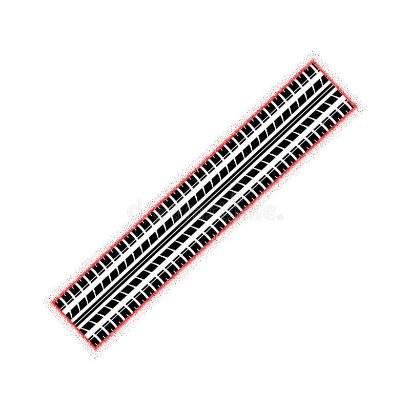 Pista rossa punteggiata della gomma illustrazione di stock