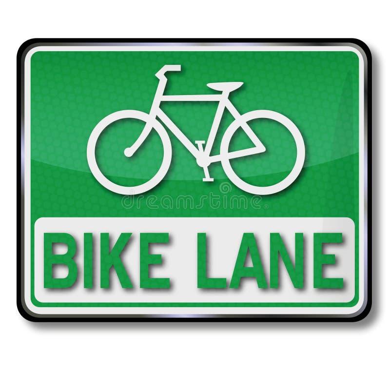 Pista verde da bicicleta do sinal de tráfego ilustração stock