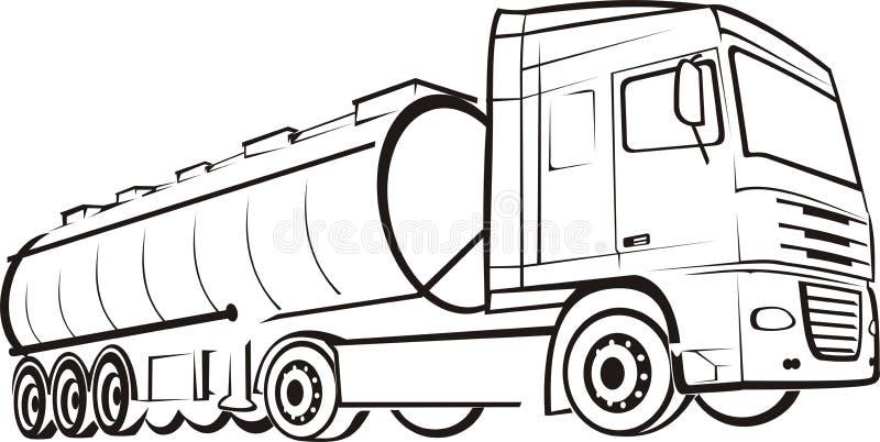 Pista y camión stock de ilustración