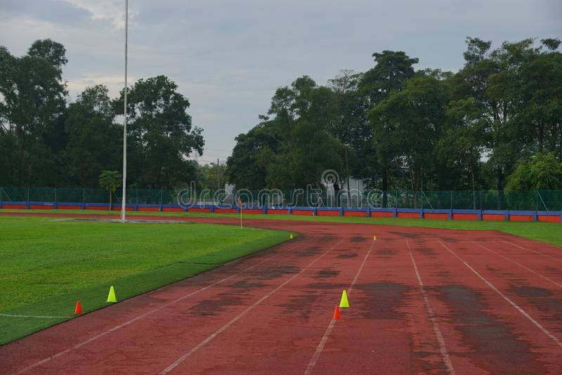 Pista y campos con el cono amarillo 2 en pista con la hierba artificial dentro de un estadio fotos de archivo libres de regalías