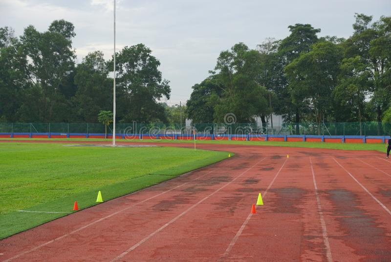 Pista y campos con el cono amarillo 2 en pista con la hierba artificial dentro de un estadio imágenes de archivo libres de regalías