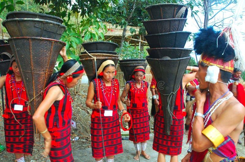 Pista y población de la Nagaland-India. foto de archivo libre de regalías