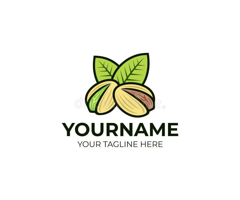 Pistacchi con le foglie verdi, modello di logo Seme del pistacchio con le coperture e la foglia, progettazione di vettore illustrazione vettoriale