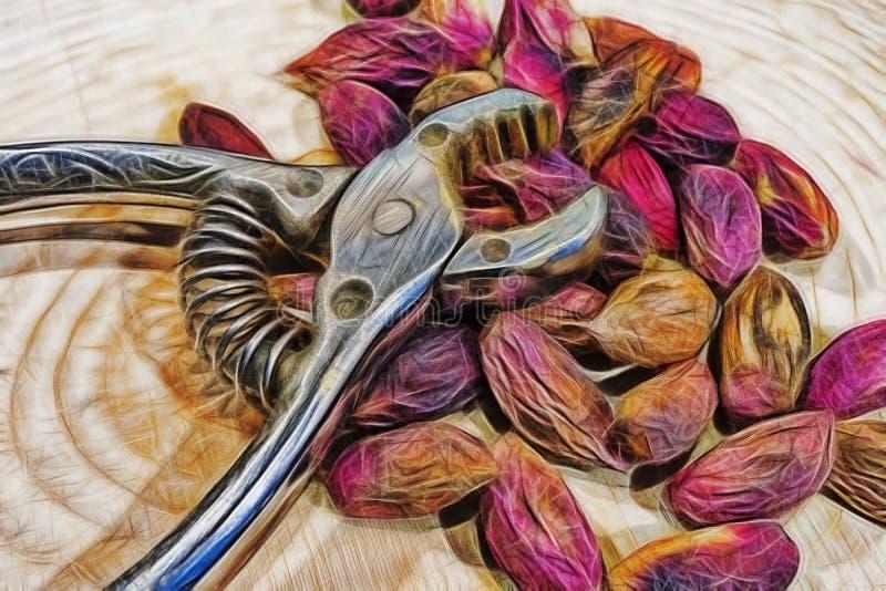Pistaches et pistache écrasant des pinces dans peu de plat illustration libre de droits