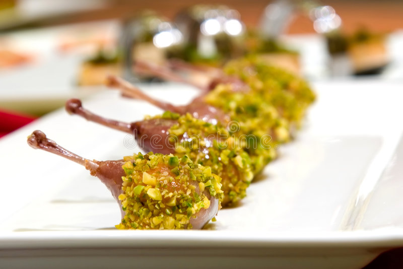 Pistachio Crusted Quail Ballotine royalty free stock image