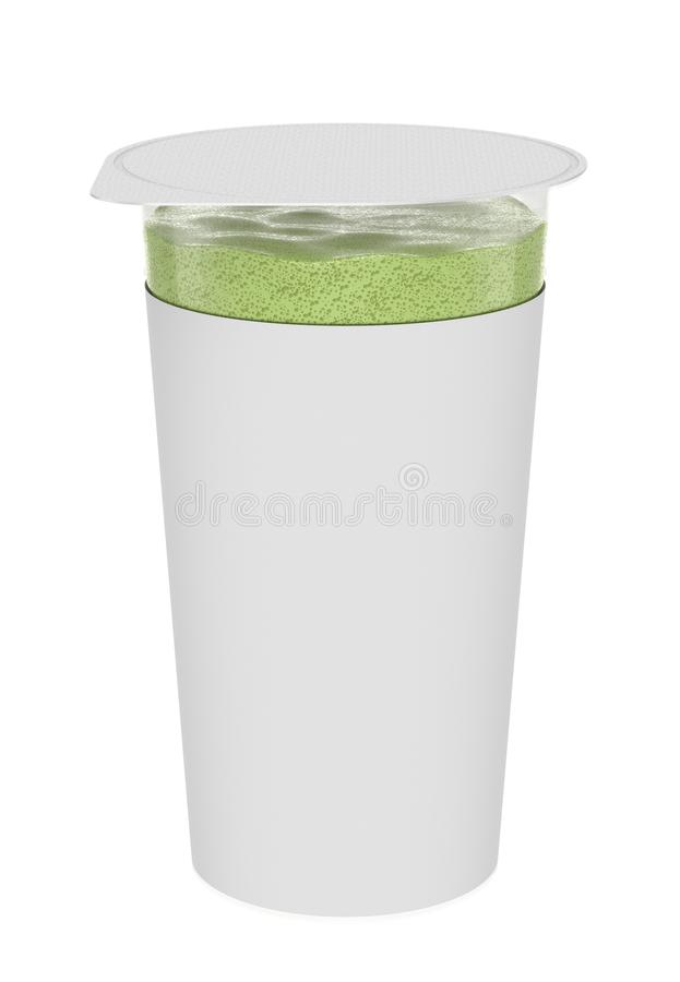 Pistachio foam, foamy cream, in transparent plastic container. royalty free stock photos