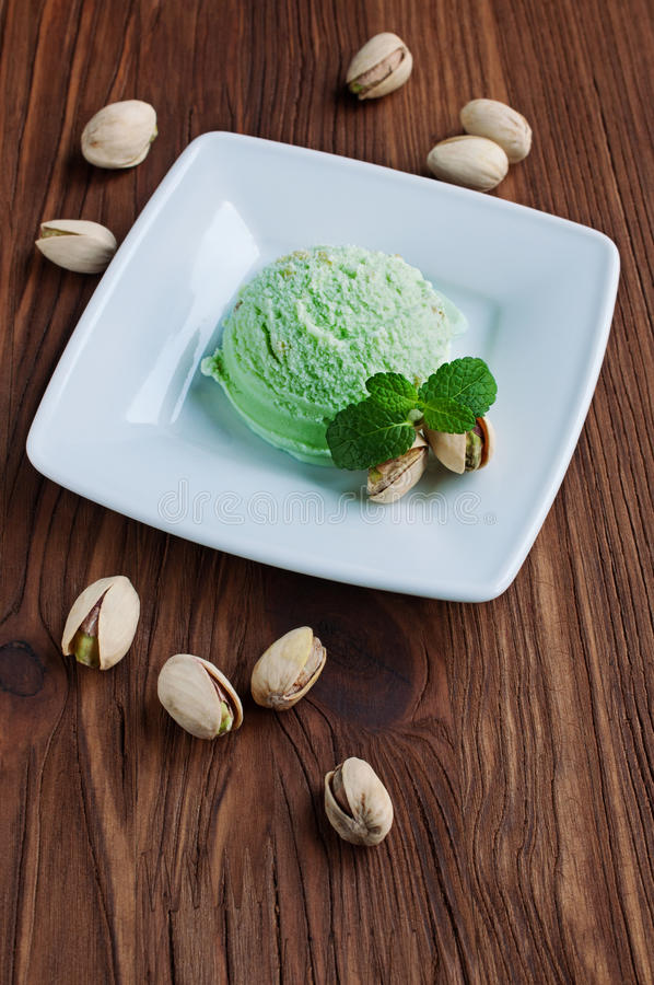 Pistachio green ice cream royalty free stock images