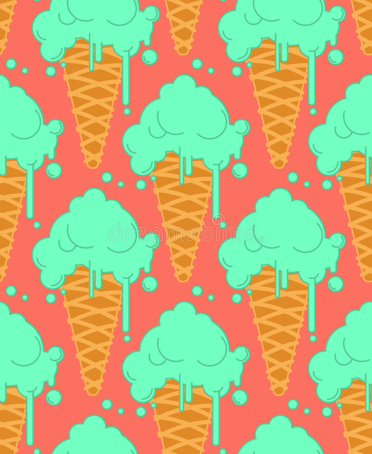 Pistachio ice cream in waffle cone seamless pattern. Cold dessert vector illustration