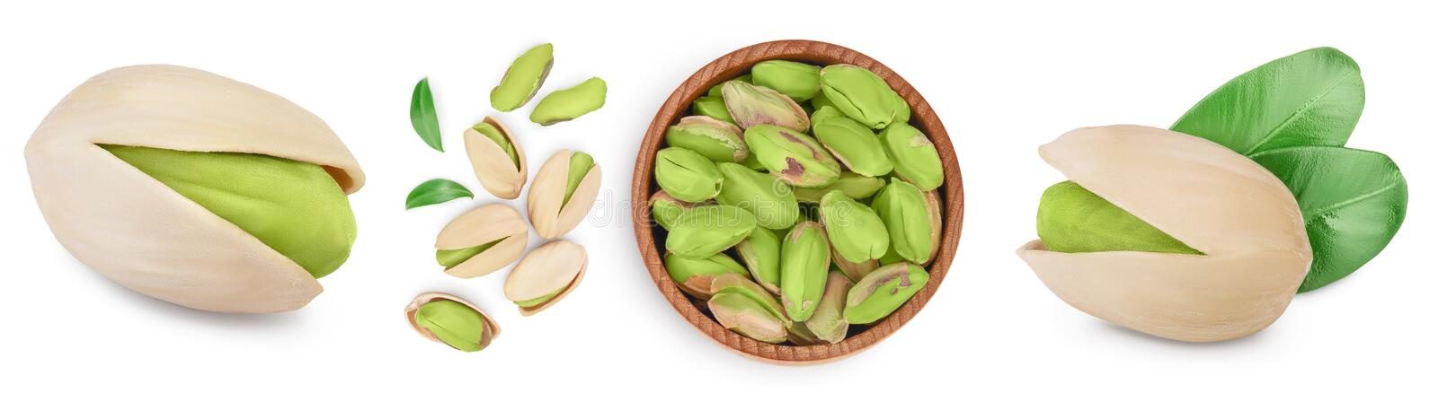 Pistachio with leaves isolated on white background with clipping path and full depth of field. Set r collection stock images