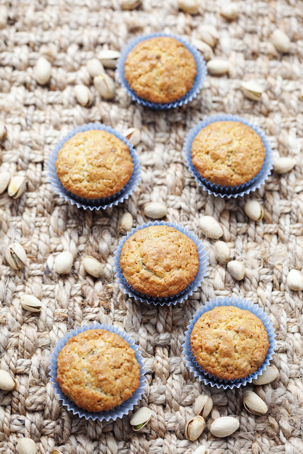 Pistachio muffins stock photo