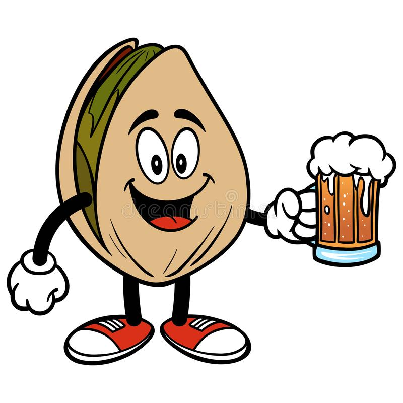 Pistachio Nut with a Beer. A cartoon illustration of a Pistachio Nut mascot stock illustration