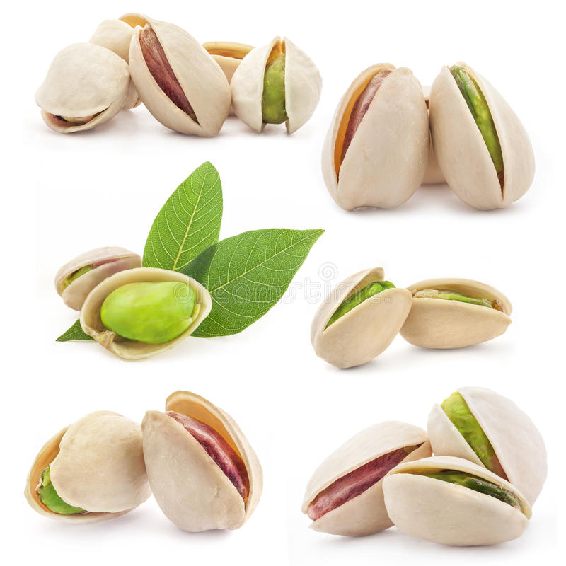 Pistachio nuts. Collection of Pistachio nuts, fruits isolated on white background royalty free stock image