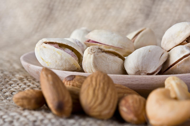 Pistachio Nuts And Almonds Stock Images