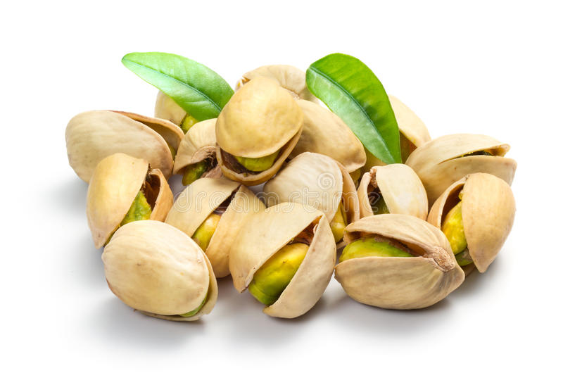 Pistachio nuts. Isolated on white royalty free stock image
