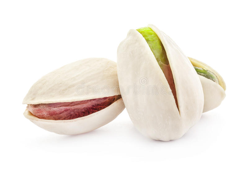 Pistachio nuts. Isolated on white background royalty free stock photo