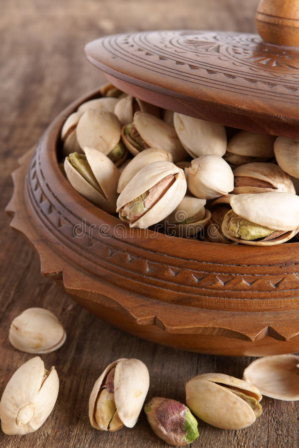 Pistachio nuts. The pistachio, Pistacia vera, a member of the cashew family a popular nut from the Middle East stock photos