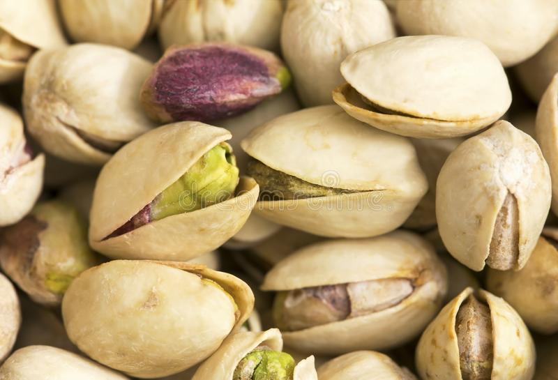 Pistachio nuts with shell closeup stock photo