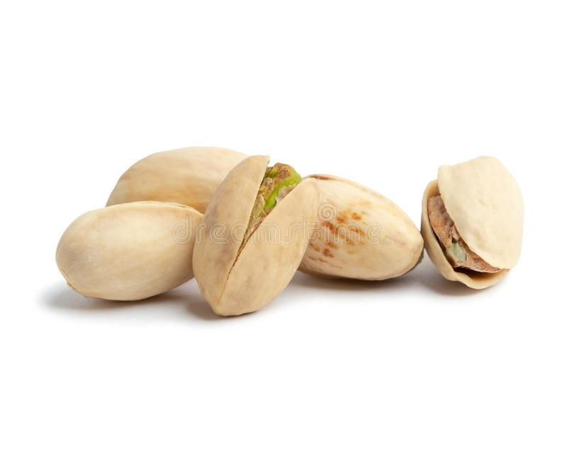 Pistachio nuts on white background.  stock image