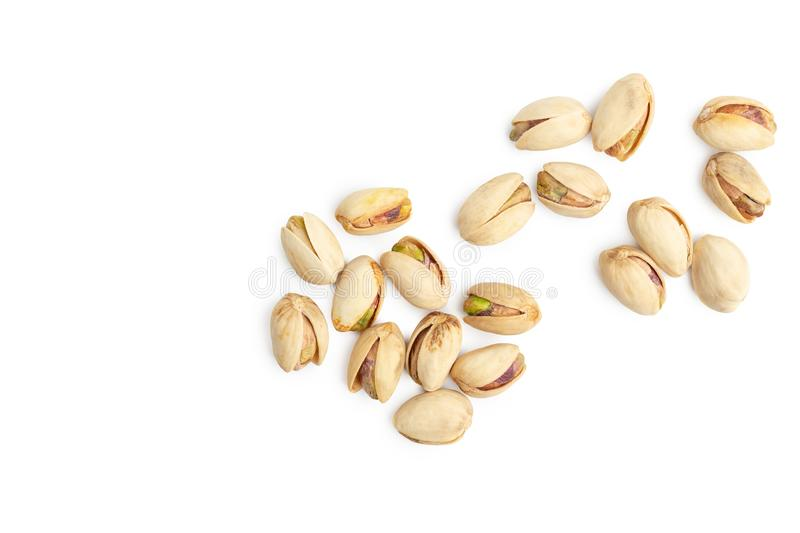 Pistachio nuts on white background. empty space for design stock photo