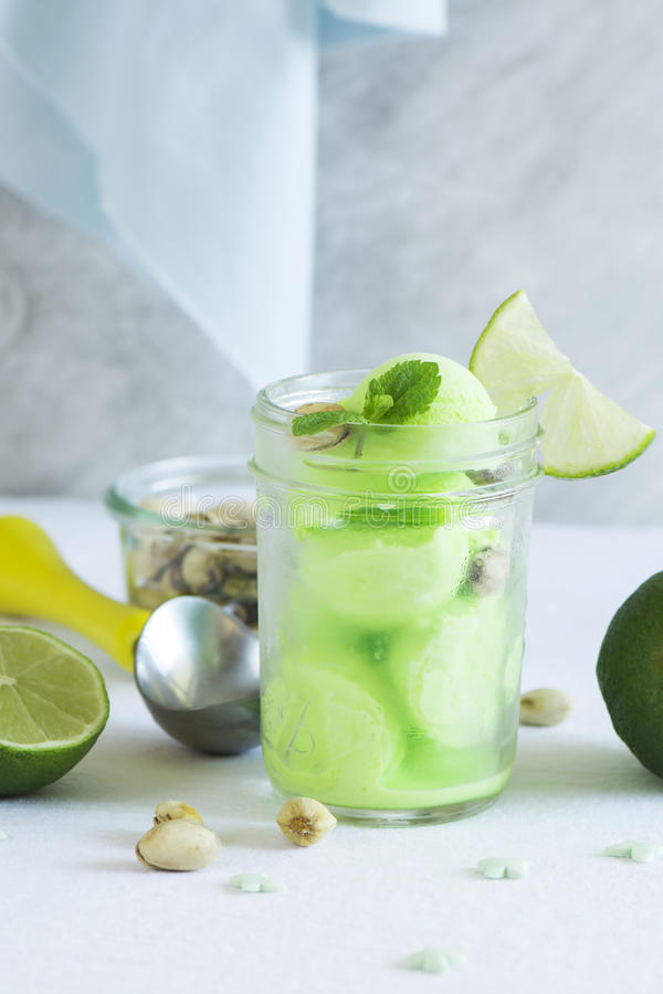 Pistachio sorbet with lime and mint royalty free stock image