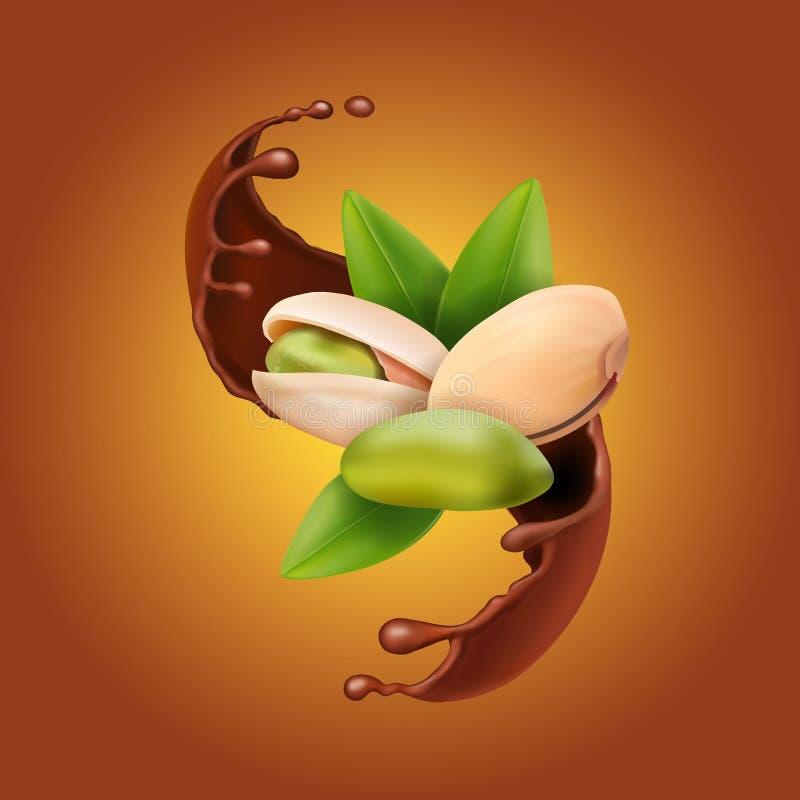 Pistacjowe realistyczne dokrętki w czekoladowym pluśnięciu 3d wektor royalty ilustracja