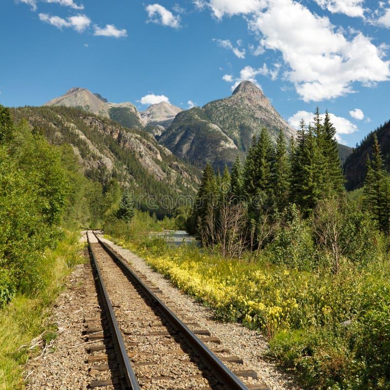 Pistas de ferrocarril del indicador estrecho de Durango y de Silverton imagen de archivo