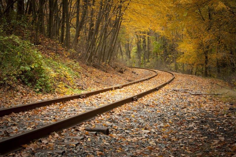 Pistas de ferrocarril en la caída fotografía de archivo libre de regalías