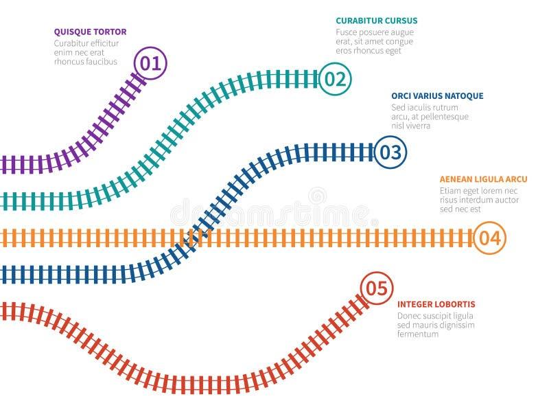 Pistas de ferrocarril infographic Carril que sigue la carta de la opción, organigrama del paso Infographics del vector del proces libre illustration