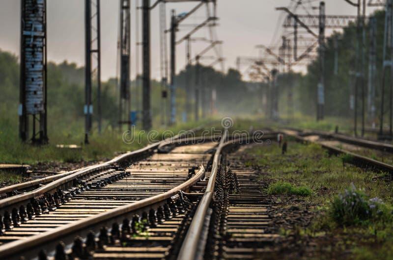 Pistas de ferrocarril, Polonia, Lodz imágenes de archivo libres de regalías