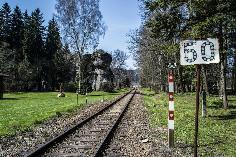 Pistas de la pista ferroviaria y una estatua de madera imágenes de archivo libres de regalías