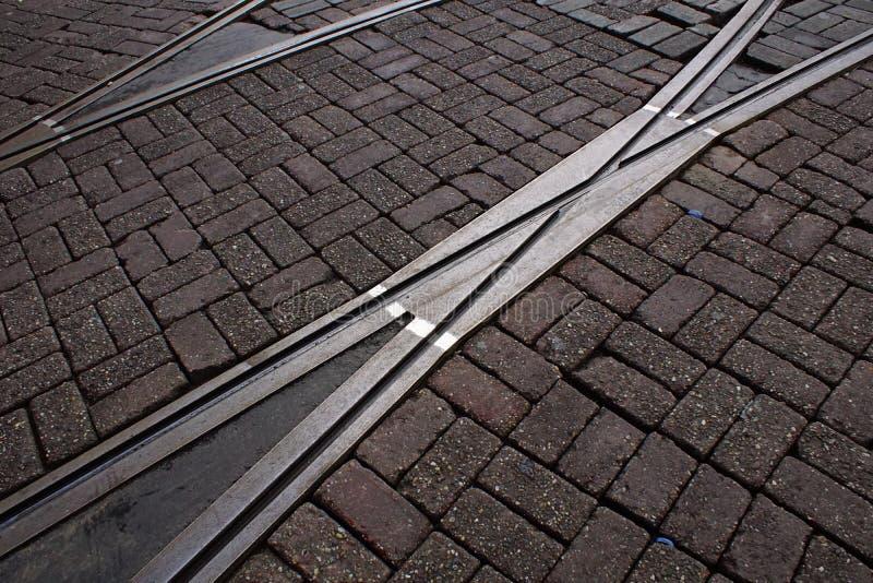 Pistas de la tranvía en Amsterdam foto de archivo