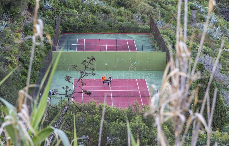 Pistas de tenis en Las Palmas de Gran Canaria, España imágenes de archivo libres de regalías