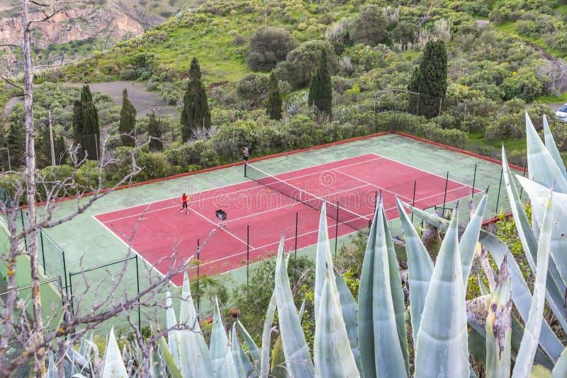 Pistas de tenis en Las Palmas de Gran Canaria, España fotografía de archivo
