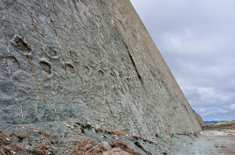 Pistas del dinosaurio en la pared, Sucre, Bolivia foto de archivo libre de regalías