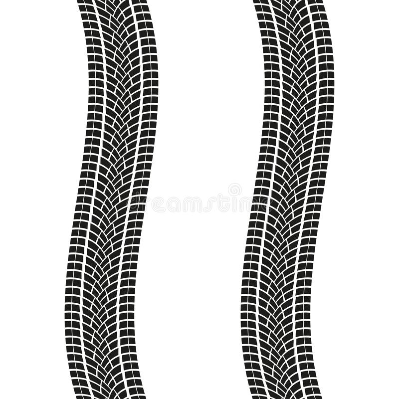 Pistas del neumático aisladas en el fondo blanco Impresiones del neumático de la bobina Ilustración del vector libre illustration