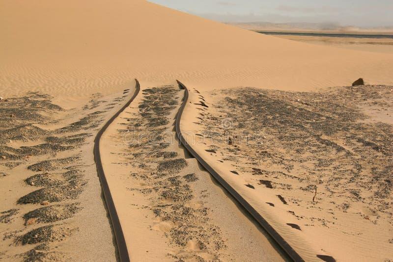 Pistas del neumático en arena del desierto fotos de archivo libres de regalías