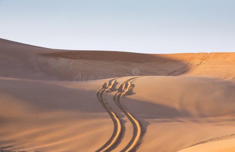 Pistas del neumático en el desierto en la salida del sol fotos de archivo libres de regalías