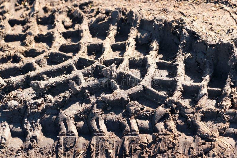 Pistas del neumático en el fango imagen de archivo