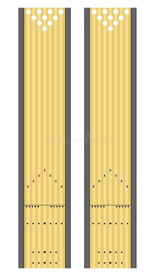 Pistas do bowling ilustração stock