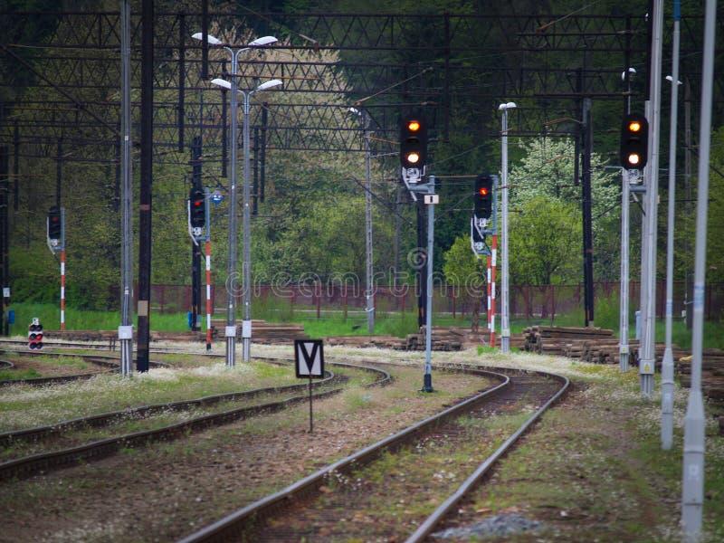 Pistas ferroviarias, luz y muestras, carriles e hierba verde imágenes de archivo libres de regalías