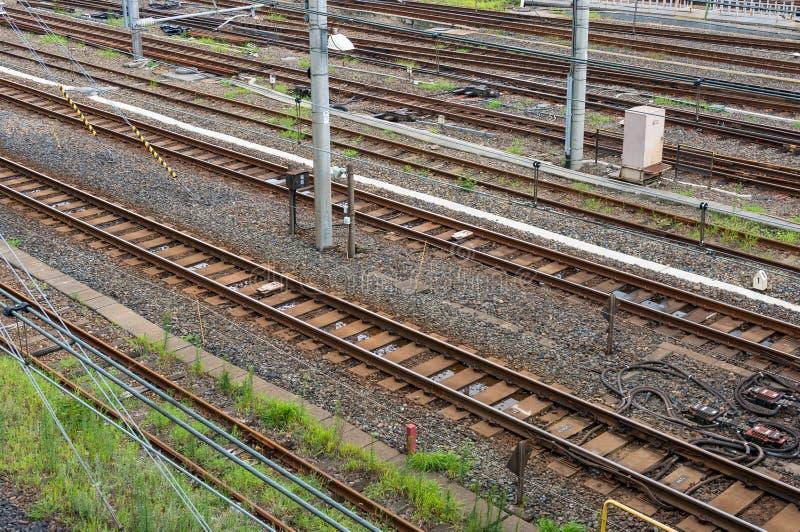 Pistas ferroviarias vacías Visión desde arriba fotos de archivo