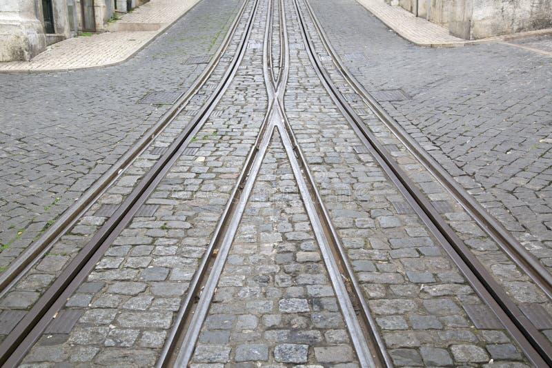 Pistas funiculares de la tranvía, Rua DA Bica de Duarte Belo Street; Lisboa imagenes de archivo