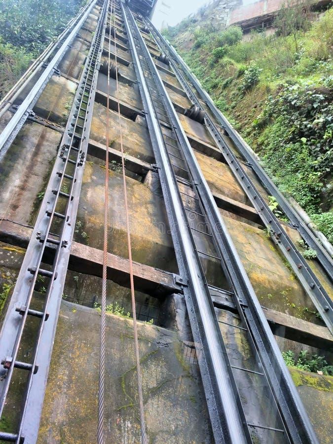 Pistas funiculares del teleférico Valparaiso, chile fotos de archivo
