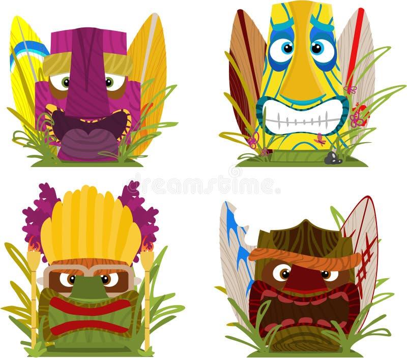 Pistas Hawaianas Del Tótem De Tiki Stock de ilustración ...