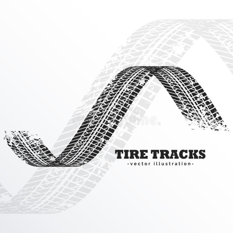 Pistas negras del neumático del Grunge en el fondo blanco ilustración del vector