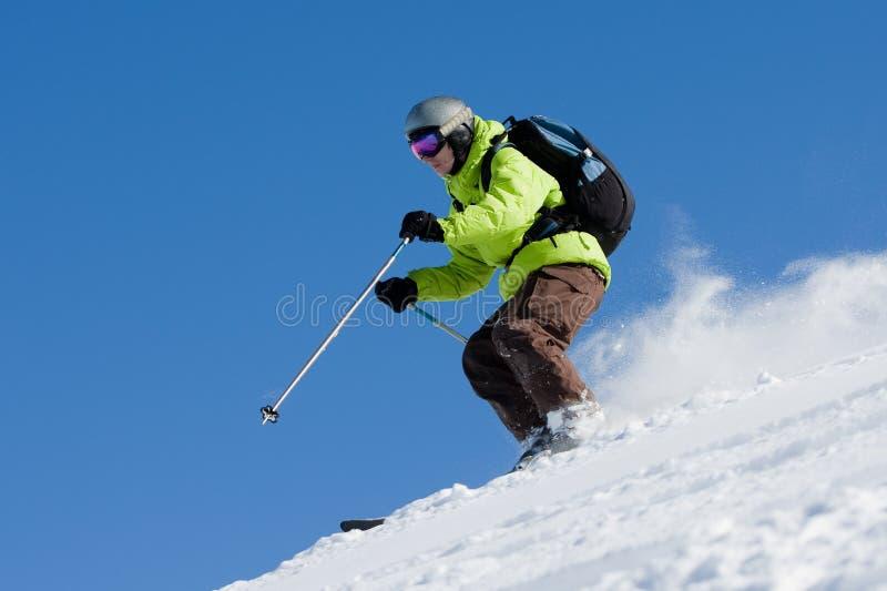 piste滑雪的freeride 免版税库存照片