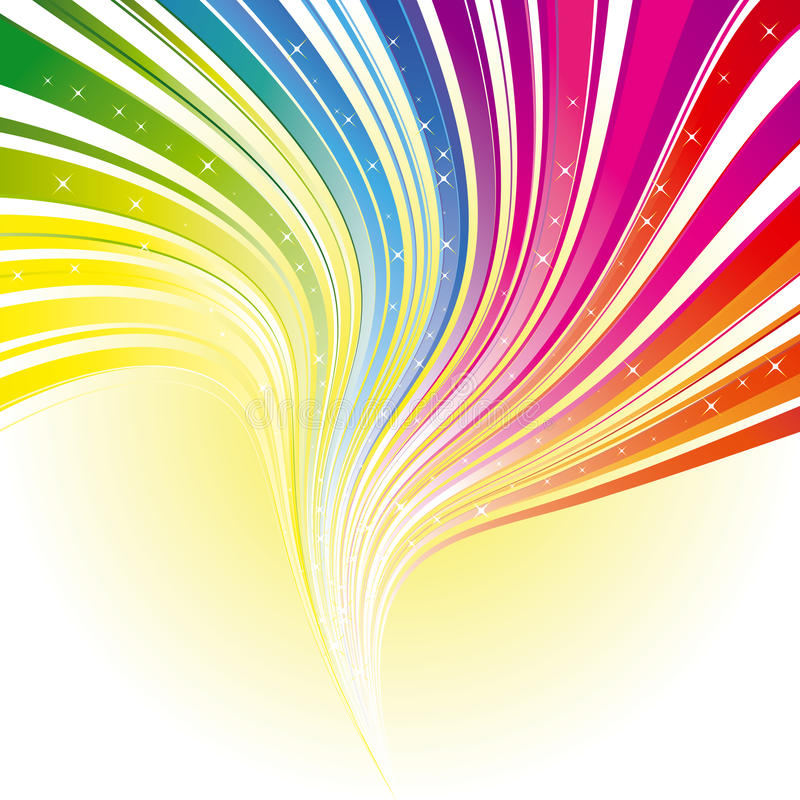 Piste abstraite de couleur d'arc-en-ciel avec des étoiles illustration stock