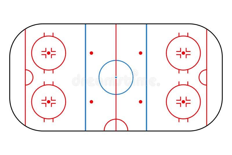 Piste de hockey sur glace Champ de fond de maquette pour la stratégie et l'affiche de sport Vecteur illustration libre de droits