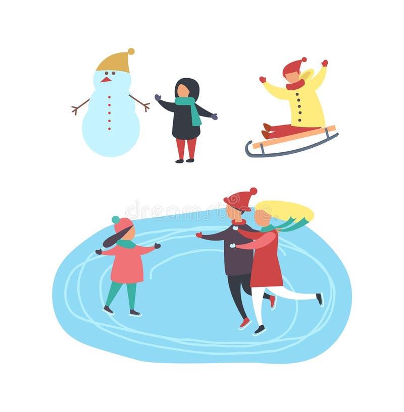 Piste de patinage et les gens, enfants jouant le vecteur illustration de vecteur